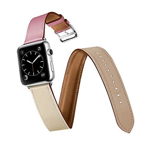 Ecpro Apple Watch 本革バンド ベルト アップルウォッチバンド series4互換性有 男女兼用 40/44 mm (44mm, ローズ・サクラ/クレ/アルジル/二重巻き)