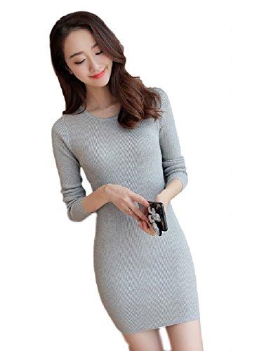 (クルーズライン)CRUISE LINE ミニ丈 ニット ワンピース シンプル タイト シルエット 長袖 ワンピ ドレス セーター B (グレー, M)
