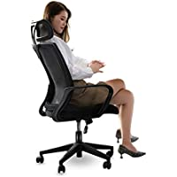 MyHood オフィスチェア デスクチェア 椅子 高反発クッション採用 組立簡単 人間工学設計 ハイバック メッシュ コンパクト 調節可能 可動式枕 ロッキング椅子 腰サポート通気性 360度回転 「一年無償部品交換保証」