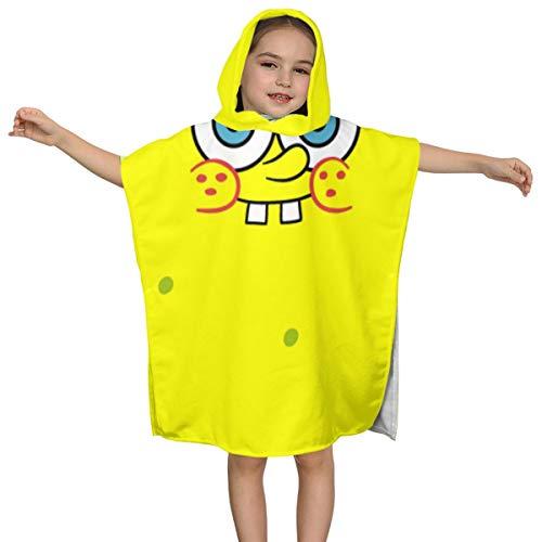 スポンジボブ 2-7歳の子供フード付きバスタオル柔らかいバスローブ吸収性と速乾性のフード付きプールタオル男の子と女の子
