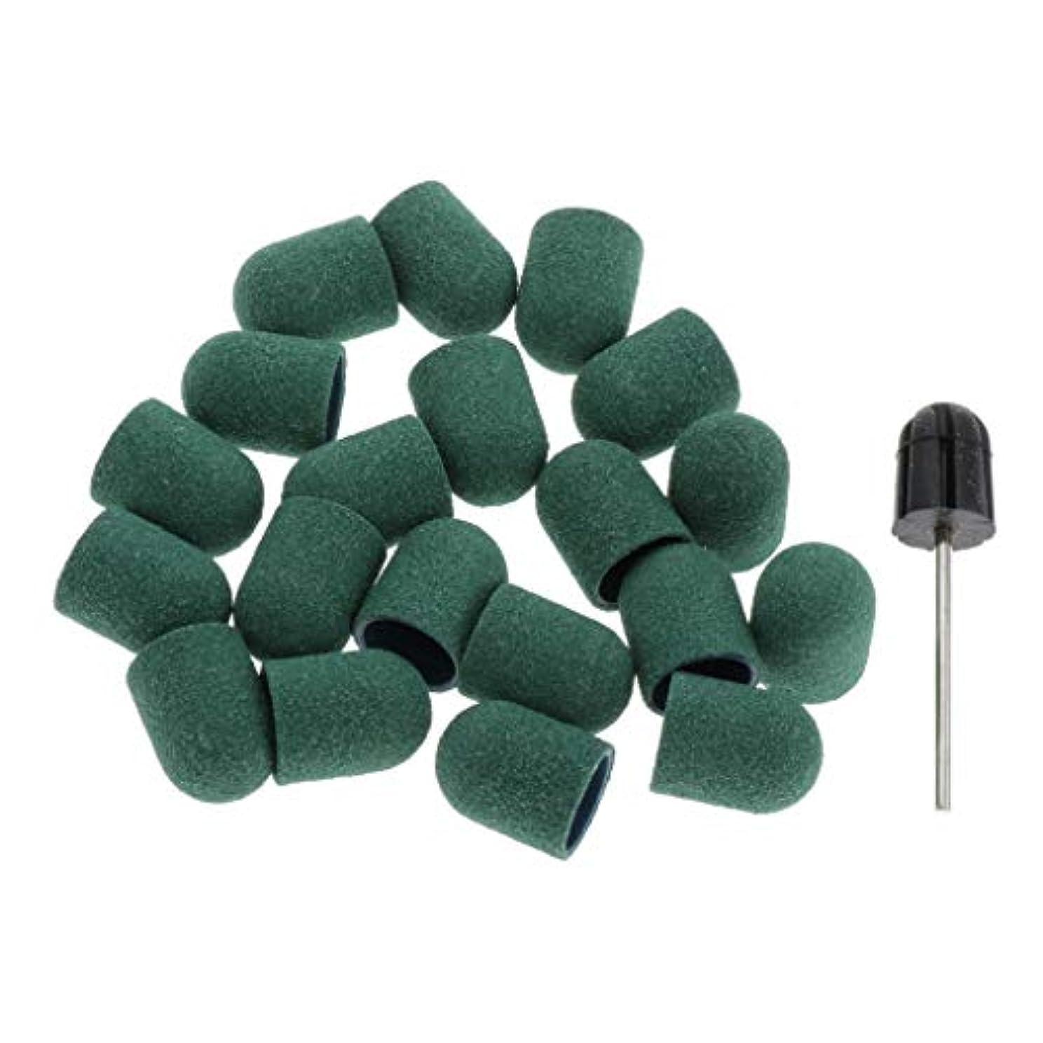 同情的端末直立T TOOYFUL ネイル ドリルビットバフ 研削ビットバフ 研磨ビットキャップ サンドペーパー素材 約20本 全5カラー - 緑