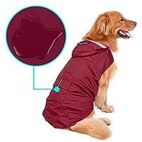 Pet House 923FF11 防水反射犬のレインコート,赤,XXXL