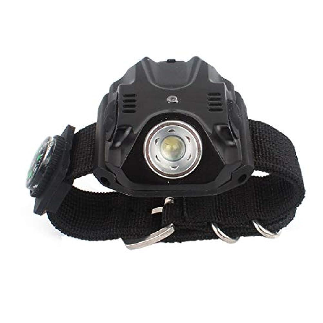 円形のアイデア悩む自転車用ライディングライト_アウトドアキャンプグレアLedライト懐中電灯ナイトバイクライディングライト多機能ウォッチ、USB充電