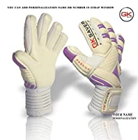 GK Saverサッカーゴールキーパーグローブネガティブカットサッカーゴールキーパーグローブ8/9/10/11(Yes FingerSave No Personalization、Size 6)
