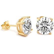 14K Gold tone stud earrings featuring 6mm AAA grade cubic zirconia brilliance in sterling silver