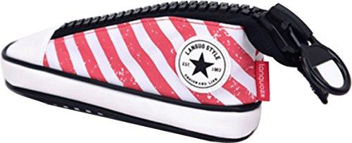 [ MT On&Do ] ペンケース スニーカー 靴型 ユニーク おもしろ キャンバス 高校生 軽量 筆箱 収納 化粧品 ポーチ 学生 OL 社会人 整理整頓 (ピンク)