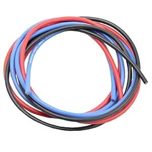 イーグル模型 シリコン銀コードセット・16G[ゲージ] (赤、黒、青 各60cm) 967