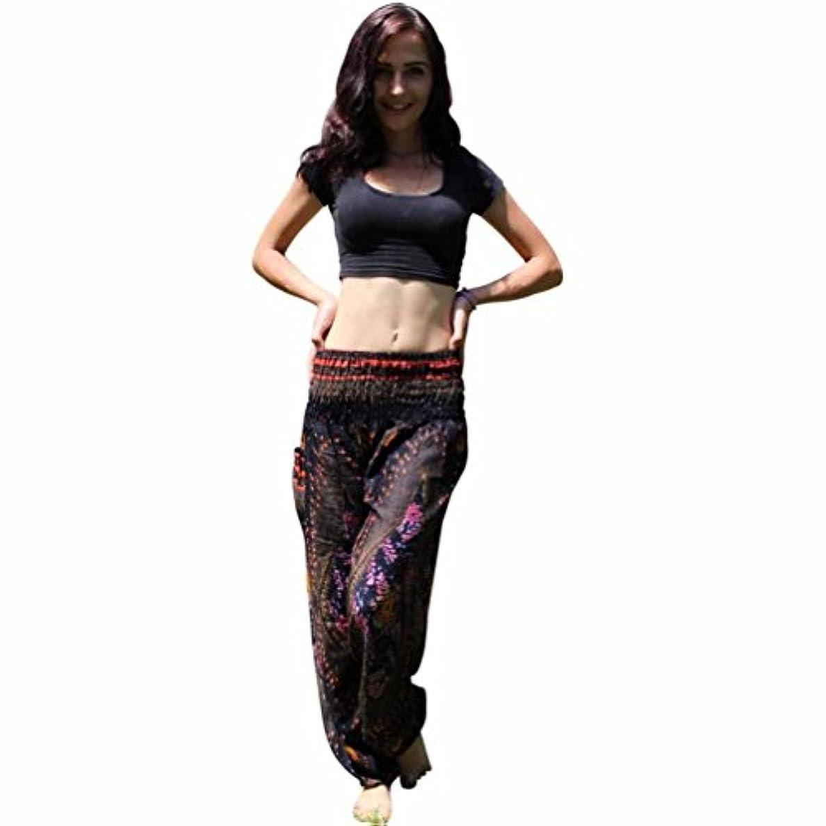 仲介者コンピューターこんにちはMhomzawa パンツ男性女性タイのハレムのズボンフェスティバルヒッピーのスモックハイウエストのパンツのタイハーレムヨガ?パンツ