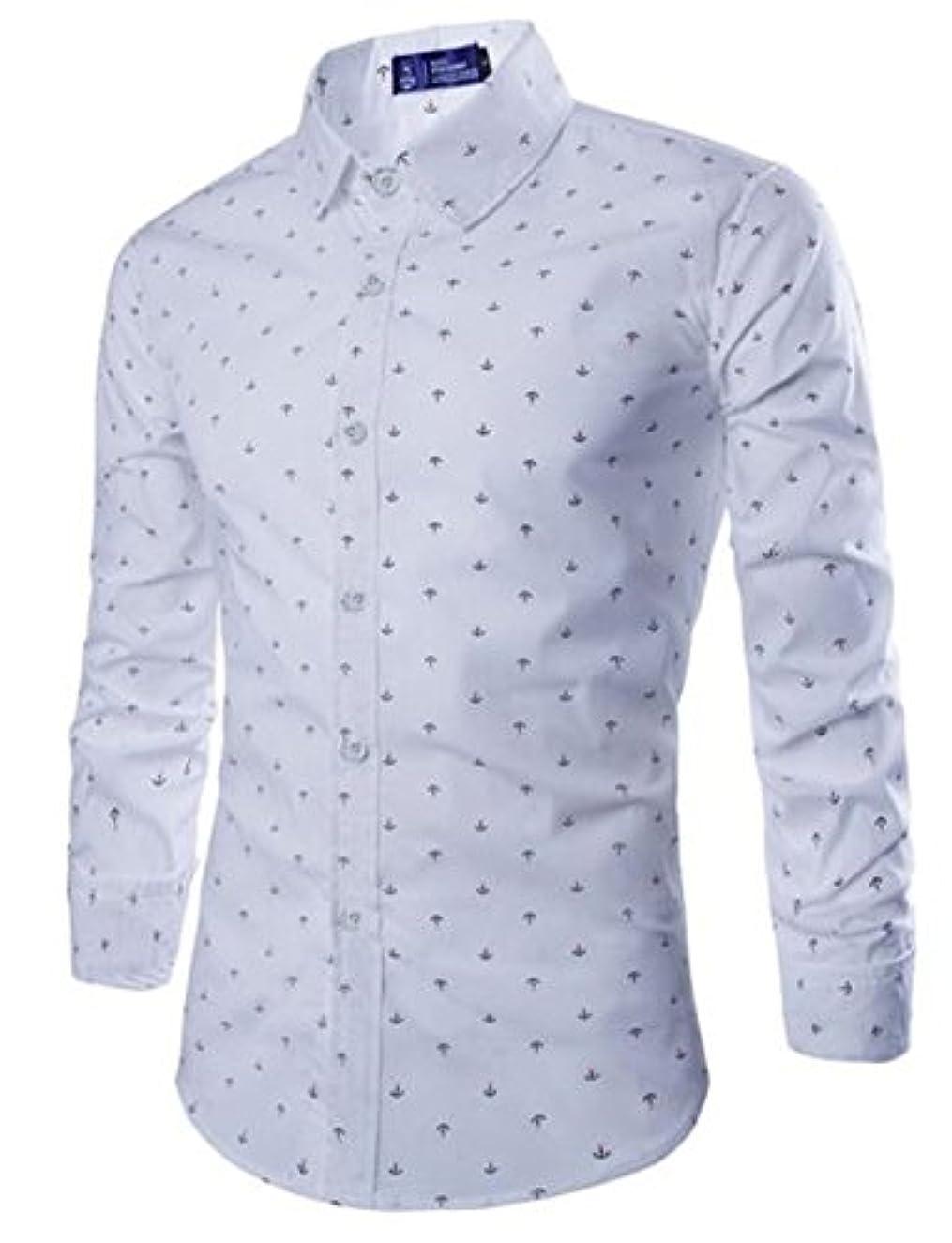 本質的ではないシティ不倫(チェリーレッド) CherryRed メンズ 長袖ワイシャツ ビジネス オールシーズン シーアンカ柄 イギリス風 イケメン 修身 白 L