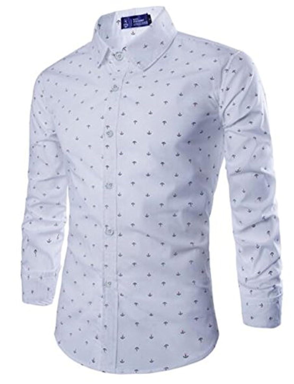 下位幸運なことに彼女の(チェリーレッド) CherryRed メンズ 長袖ワイシャツ ビジネス オールシーズン シーアンカ柄 イギリス風 イケメン 修身 白 XL