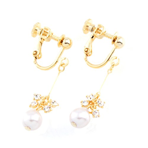 [해외]피부 친화 니켈 프리 세선 스키 & 진주 귀걸이 골드 (nife0004-G)/Nickel-free thin wire gentle to your skin Swarovski & Pearl earring gold (nife0004-G)