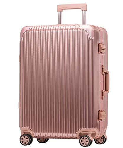 [プロエボ] スーツケース フレームキャリー 静音 ダブルキャスター 8輪 軽量 アルミフレーム TSAロック キャリーケース キャリーバッグ (Mフレーム(約50L), ローズゴールド)