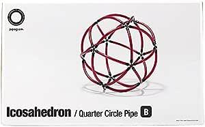 Pipegram Icosahedron B Quarter Circle Pipe パイプグラム 正20面体 ブラックX赤