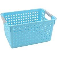 uxcell ストレージバスケット 収納ボックスバスケットホルダー リトルシップホルダー プラスチック 長方形の設計 ブルー