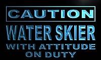 LED看板 ネオンプレート サイン 電飾・店舗看板・標識・サイン カフェ バー ADV PRO m637-b Caution Water Skier on Duty Neon Light Sign