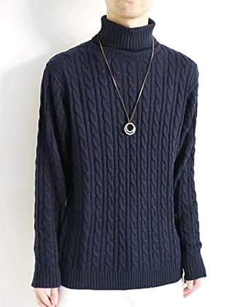 (モノマート) MONO-MART ケーブル編み ハイネック タートルネック 暖 ニット セーター ざっくり メンズ 秋 冬 ネイビー Lサイズ