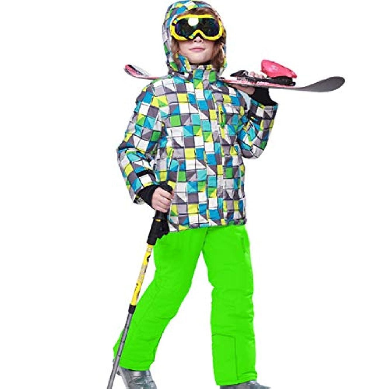 事務所倫理後世子供キッズ男の子/女の子スキースーツ防水パンツ+ジャケットセットウィンタースポーツ厚手の服子供用スキースーツ-緑146/152