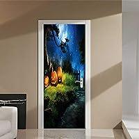 swsongx 3Dドアウォールステッカーハロウィンホラーカボチャポスタードアステッカー絵画壁紙ウォールステッカーパーティー寝室家の装飾Gifts77x200cm