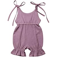 0-4T Baby Girl Cotton Romper Clothes Kids Solid Romper Jumpsuit Outfits Unisex Boy Girl Overall Pants Clothes (12-18 Months, Purple)