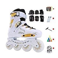 TKW 女性男性インラインスケート、ユーススポーツローラースケート、成人初心者用屋外ローラーブレード、ブラックホワイト (Color : White, Size : EU 37/US 5/UK 4/JP 23.5cm)