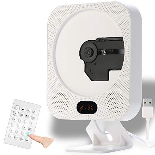 PlumRiver CDプレーヤー 壁掛け スタンド ポータブル CDプレイヤー MP3 (microSDカード) Bluetooth 対応 リモコン付き 携帯 スピーカー 3.5mm イヤホン イヤフォン ジャック USB電源 LCD液晶表示 音楽再生 多機能 持ち運び 小型 【簡易動画マニュアル付属】 ホワイト