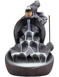 ホームアロマバーナー 紫色の粘土ひょうたん蓮香バーナースティックホルダー香りアロマ煙逆流香バーナー家の装飾 芳香器アロマバーナー (Color : A)