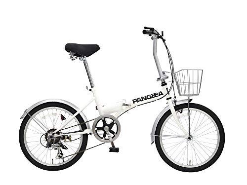 PANGAEA(パンゲア) ROBINSON ロビンソン 20インチ ホワイト コンパクト折りたたみ自転車 シマノ6段変速機搭載 前後泥除け付き バスケット標準装備 73377