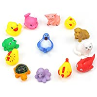 Liebeye おもちゃ 13個セット アヒル お風呂 動物 玩具 スクイズ ベビー バス 子供 幼児