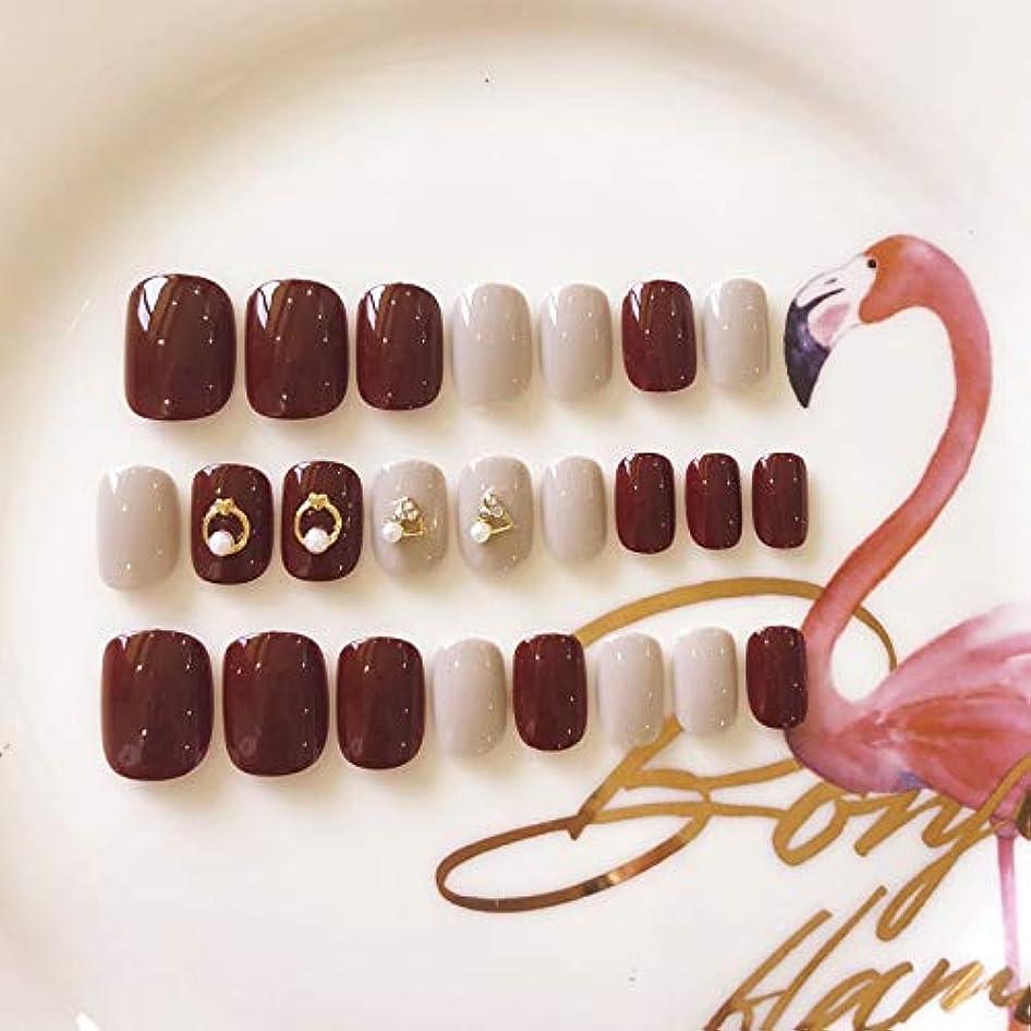 リラックス腐った隔離XUANHU HOME 花嫁の結婚式のネイルパッチ赤い偽爪キット24ピース偽爪接着剤フルカバーミディアムの長さ