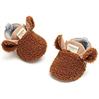 Meckior Newborn Infant Baby Boys Girls Cozy Fleece Booties Cotton Lining Warm Slippers First Walkers Shoes (11cm(0-6months), A-Brown)