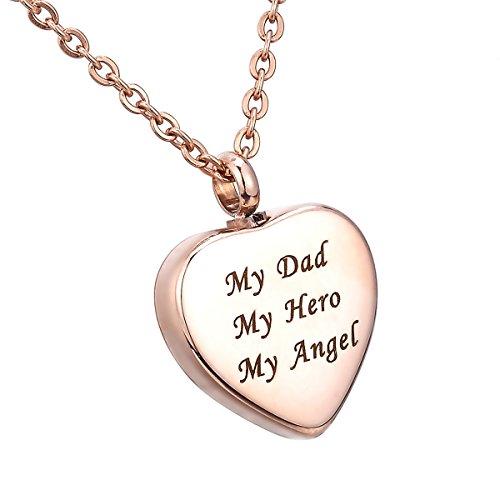"HooAMI 手元供養 メモリアルペンダント 防水中空 ハートペンダント ネックレス ステンレス 遺骨ペンダント ローズゴールド ""My Dad My Hero My Angel"" 25mmX20mm"