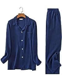Vinvo パジャマ メンズ 長袖 綿100 二重 ガーゼ 上下 セット