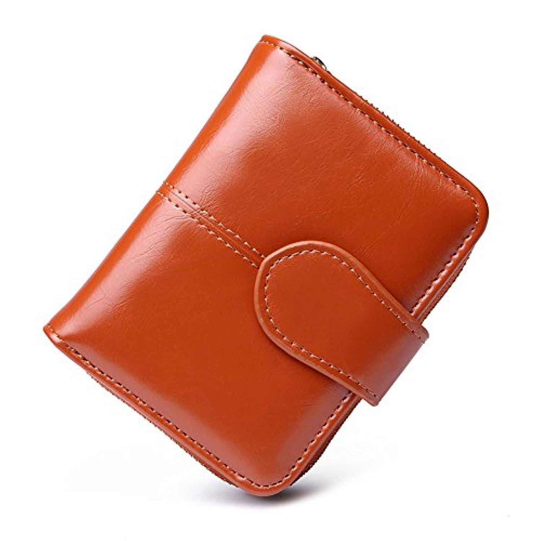 財布 レディース小さい 財布 高級レザー 便利 コンパクト (二つ折り財布)