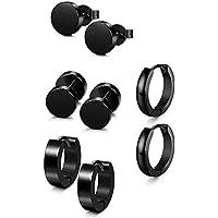 VWH Stainless Steel Black Stud Earrings for Men Women Earring Ear Piercing Set Hoop