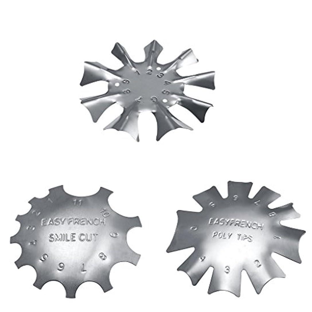 相反するジェスチャー気体のToygogo 3スタイル簡単フレンチスマイルカットラインエッジトリマーマニキュアネイルアートステンシルテンプレートツール耐久性のあるステンレス鋼