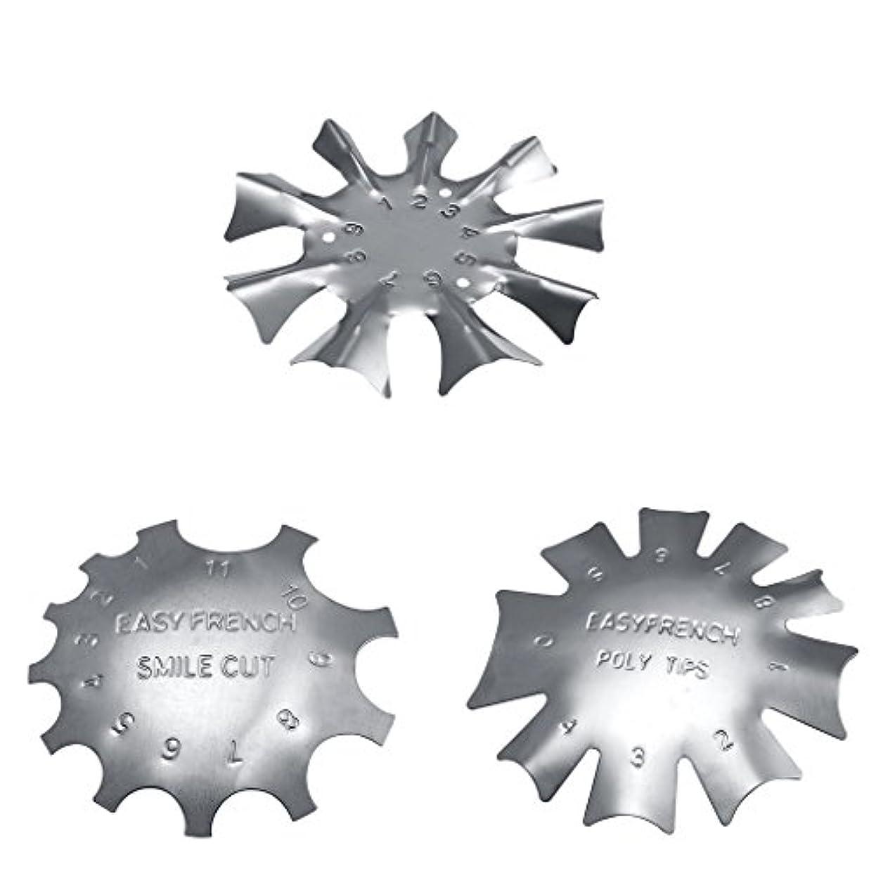 交換インペリアル剛性Toygogo 3スタイル簡単フレンチスマイルカットラインエッジトリマーマニキュアネイルアートステンシルテンプレートツール耐久性のあるステンレス鋼
