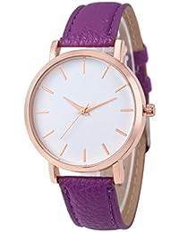 Tonsee カジュアル 腕時計 女性用 PUレザーバンド アナログ表示 クラシック ウォッチ (パープル)