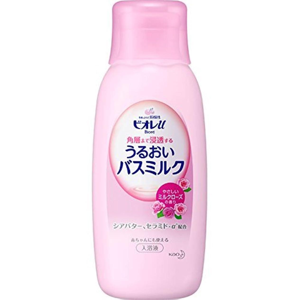 広く無条件うねる【花王】ビオレU 家族みんなのすべすべバスミルク ミルクローズの香り <本体> 600ml ×10個セット