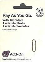イタリアSIM Three イタリア他約60地域 30日データ12GB イギリス国内データ12GB/通話3000分 コミコミパック(日本語オリジナルマニュアル付)