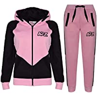 Kids Girls Tracksuit Baby Pink Contrast Panel Hooded Top Bottom Joggingsuit 5-13