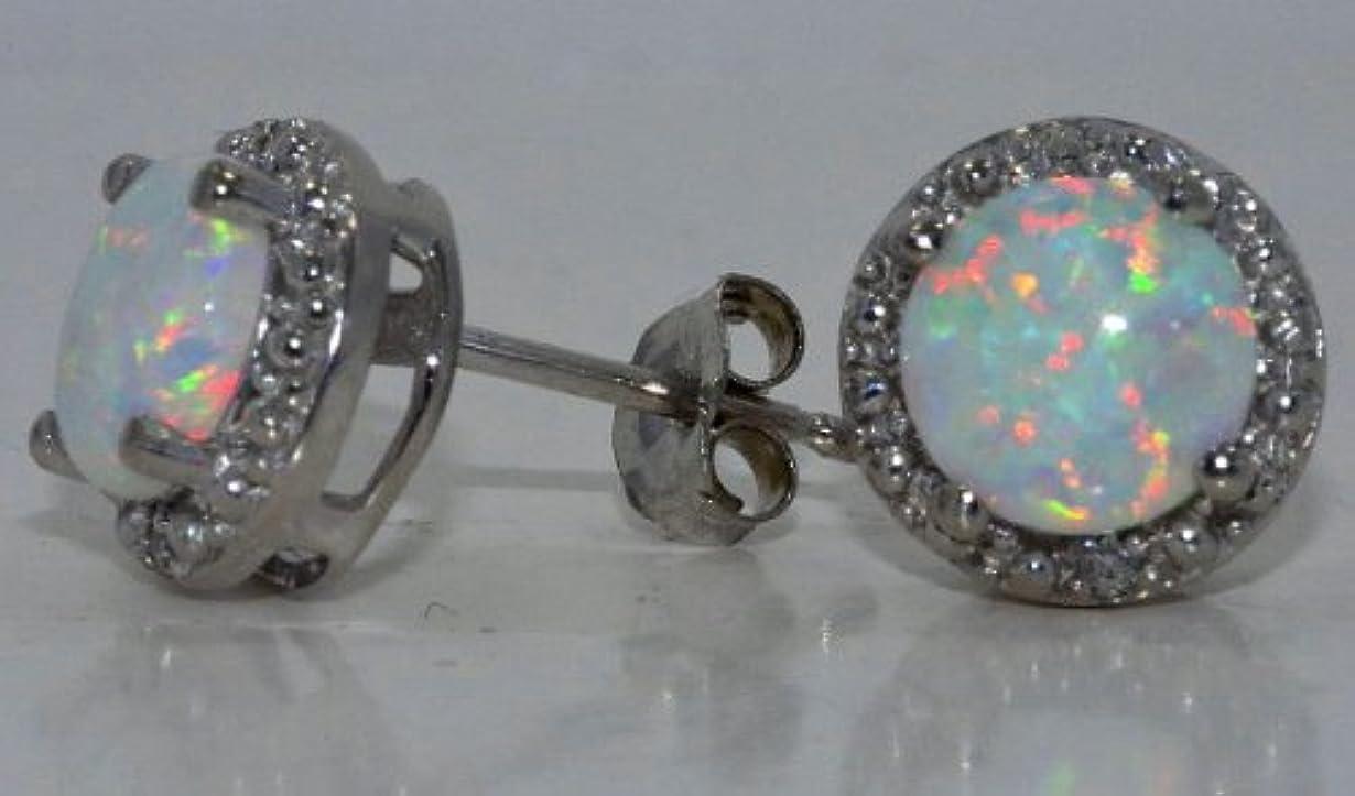 トリップ一定ステレオタイプ14Kt White Gold Simulated Opal & Diamond Round Stud Earrings