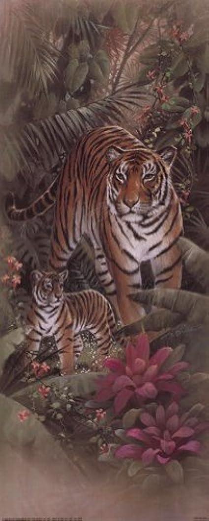 反対しおれた野生Tiger with Cubs by t.c. Chiu – 8 x 20インチ – アートプリントポスター LE_69734