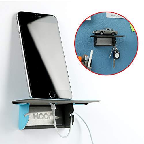 MOOY PLANK(モーイ・プランク) 磁石で取り付けるデスク廻りのスマホスタンド・小物置き パテーションに簡単取付可能 使わないときは平らにできてコンパクト収納 出張にも(青)