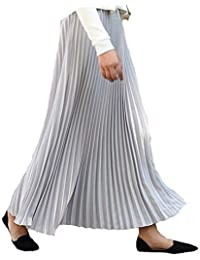 KagoMsaフレア スカート レディース プリーツスカート マキシスカート 無地 ロングスカート レディーススカート 薄手 涼しい 着痩せ 体型カバー ウェストゴム 春 夏 秋 8色選択