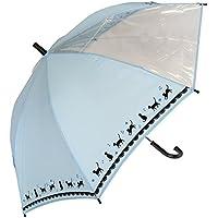 風に強い グラスファイバー骨 ビニール窓付 見通しの良い 安全 黒ネコ裾柄 かわいい 55cm ジャンプ傘 子供用傘 140cmくらいまでのお子様に最適 (サックス)