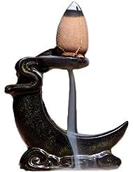 香炉逆流仏セラミック香炉ホルダー仏教白檀コーン釉薬装飾ギフト香ホルダー (Color : Black, サイズ : 2.16*0.98*2.36 inches)