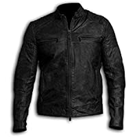 KAAZEE Mens Vintage Cafe Racer Retro Motorcycle Distressed Black Leather Biker Jacket