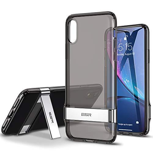ESR iPhone XR ケース 耐衝撃 6.1インチ 背面クリア カバー 着脱簡単 [メタルスタンド 横置き・縦置き 角度調節可能 落下 衝撃吸収 ソフトバンパー ワイヤレス充電に影響なし] 米軍MIL規格取得 iPhone XR 2018年版専用ケース(半透明・ブラック)