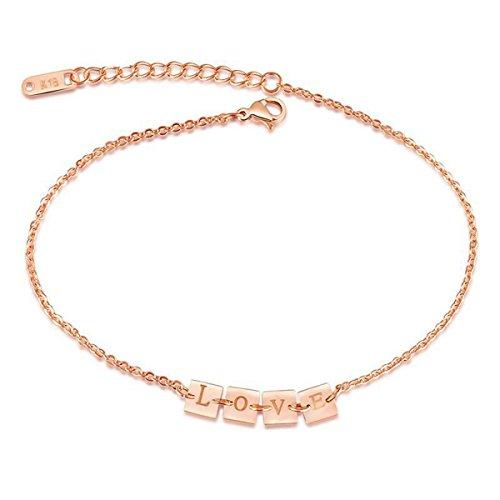 [해외]HooAMI 발목 고리 서로 곱하면 작은 반지 여성 여성 크로스 체인 알레르기 프리 사지 카루 액세서리 21.5cm + 4.5cm 색상 : 로즈 골드/HooAMI Anklet train hangs with each other Small ring Women`s Female Cross Chain Allergy Free Surgical Sta...