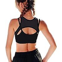 SOLAR Wear Sports Bra High Impact Yoga Gym Running Workout Bra Mesh Strappy Bra Sexy Top for Women Wireless Push Up Sports Bra V Neck Bra
